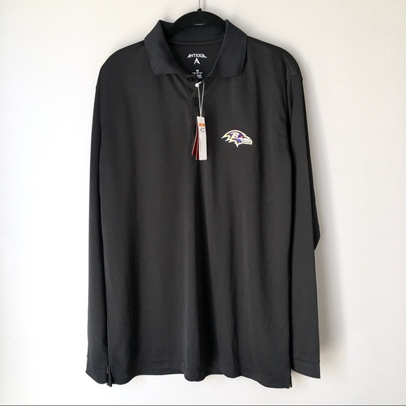 910b599c Antigua NFL Baltimore Ravens Long Sleeve Polo NWT